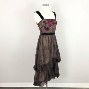 Nataya medium Midi Dress Layered Tiered Embroidered Mesh Steampunk Boho Brown